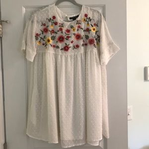White Dress with Floral Embroidery